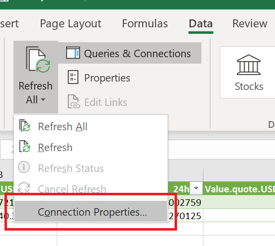 Connection Properties in Excel