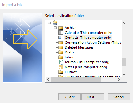 Selecting the contacts folder in the wizard