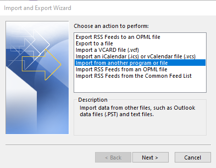 "Selecting ""Import from another program or file"" in the wizard"