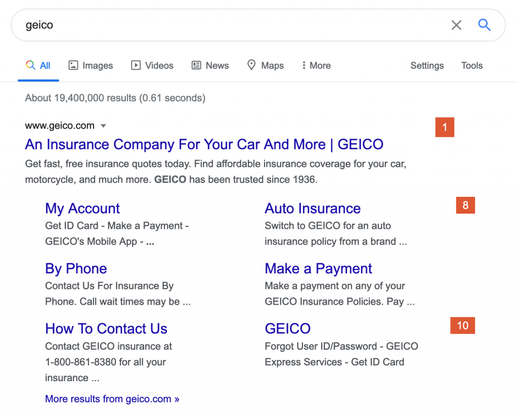 Screenshot of extension in use, showing Google search results.