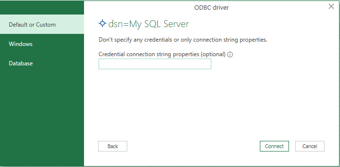 Screenshot of configuring authentication details for Excel to use