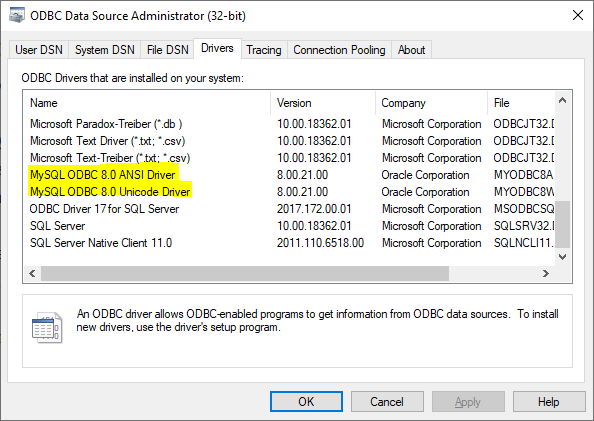 Screenshot showing installed drivers in ODBC Data Source Administrator