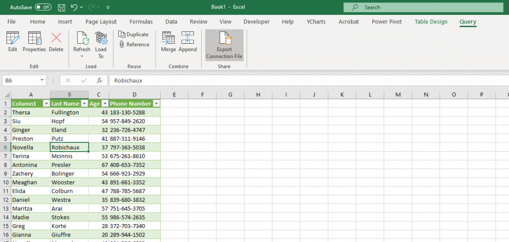 Screenshot of Excel showing imported MySQL table