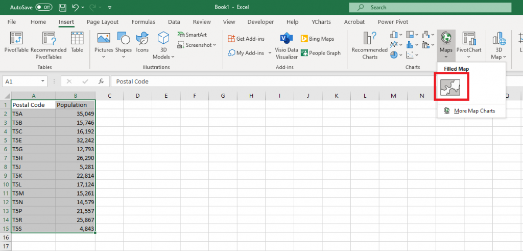 Screenshot showing the map being created in Excel.