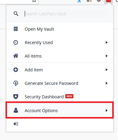 Lastpass account options screenshot